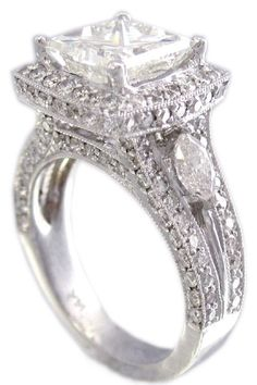18k white gold princess cut diamond engagement ring by KNRINC, $13799.00