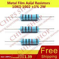1LOT=20PCS Metal Film Axial Resistors 10Kohm 1002 1% 2W 10000ohm Wattage2W resistor set #Affiliate