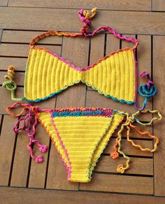 EXPRESS SHIPPING Mustard Bikini Set Crochet by senoAccessory