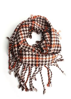 Houndstooth Scarf in Orange  $18.00