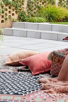 Add uplifting pieces and the new Poppy picnic rug to your outdoor space for an instant garden refresh. Outdoor Fire, Outdoor Living, French Connection Home, House In The Clouds, Bohemian Patio, Victorian Townhouse, Window Seat Cushions, Garden Cushions, Mediterranean Garden