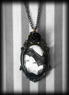 Gothic Bat Necklace with Rose, Glass Cameo Pendant, Victorian Steampunk, Gothic Gift For Her, Handmade Jewelry, Alternative Necklace by WhisperToTheMoon on Etsy