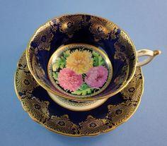 Cobalt and Gold with Chrysanthemums Center Paragon Tea Cup and Saucer Set