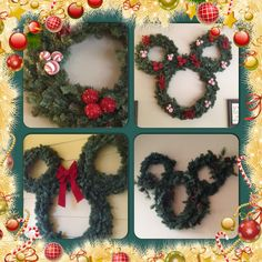 Disney Christmas. Three wreaths zip tied together and three ball ornaments all make the perfect Minnie and Mickey head shapes and tie in beautifully with our Disney Christmas Decor.
