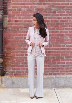 pastel pink lace top with white pants