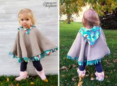 Make this darling fleece-lined poncho as your toddlers jacket or winter coat! {Reality Daydream} (don't have to remove to buckle in the car! Toddler Poncho, Baby Poncho, Kids Poncho, Sewing For Kids, Baby Sewing, Free Sewing, Fleece Poncho, Hooded Poncho, Poncho Sweater