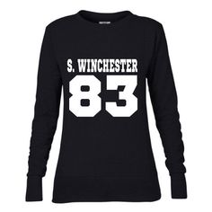 Sam Winchester Dob Ladies Mid-Scoop French Terry Crew-Neck Sweatshirt... (380 MXN) ❤ liked on Polyvore featuring tops, t-shirts, black, sweaters, women's clothing, black tee, print t shirts, print shirts, henley shirt and ribbed tee