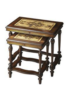 Heritage Nouveau Art Botanic Design Top Nesting Table