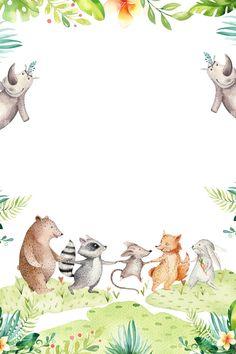 Animal de la historieta del poster background Woodland Creatures, Woodland Animals, Scrapbooking Image, Seasons Posters, Instagram Frame, Animal Posters, Woodland Theme, Baby Scrapbook, Cute Cartoon Wallpapers