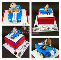 Red fondant covered square cake with a sports car and driver fondant cake topper. AC cobra blue and white fondant car.