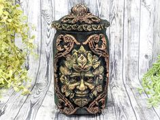 Greenman Apothecary Jar Potion Bottle / Nature Green Man Apothecary Bottle Pagan Decor Wicca God Statue Wiccan Altar Witchy Decor Witch Gift Apothecary Decor, Apothecary Bottles, Wiccan Decor, Wiccan Altar, Witch Jewelry, Pagan Jewelry, Forest Color, Pagan Art, Potion Bottle