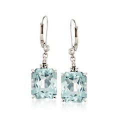 C. 1960 Vintage 17.60 ct. t.w. Aquamarine Drop Earrings With Diamonds in 18kt White Gold
