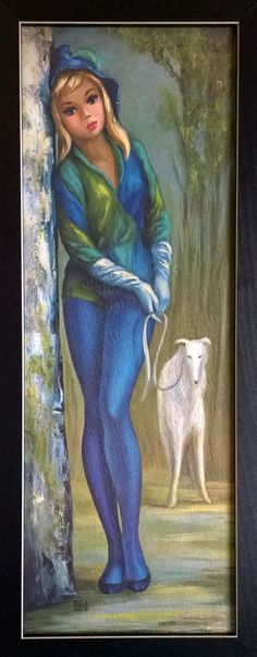Harlequin Women with Dog by Maio Big Eye Art Keane Big Eyes, Rose Gold Aesthetic, Beautiful Collage, Look Into My Eyes, Paintings I Love, Weird Pictures, Art Model, Art Images, Art Girl