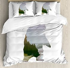 camping theme toddler bedding - Cabin Decor Queen Size Duvet Cover Set by Ambesonne, Wild Animals of Canada Survival in the Wild Theme Hunting Camping Trip Outdoors, Decorative 3 Piece Bedding Set with 2 Pillow Shams, Multicolor * Details can be found by clicking on the image. (This is an affiliate link)