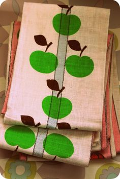 1970s French Linen Apples/Flower  Unused Tea Towel by Pommedejour, $16.00