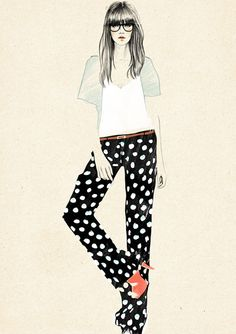 Sandra Suy fashion illustration - polka dot pants, bangs and glasses