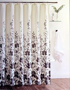 100% Cotton Shower Curtain Fabric Hotel Twenty One 72 X 72 Dark Grey On  Cream