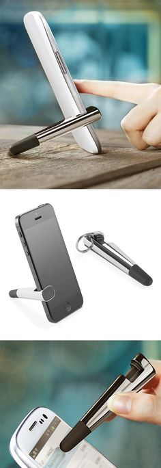 2-in-1 universal stylus and stand on a key chain - so clever! #product_design #tech #gadget