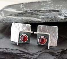 Sterling silver square post earrings with garnet. Stud earrings. Silver studs. Silver post. Silver jewellery. Handcrafted