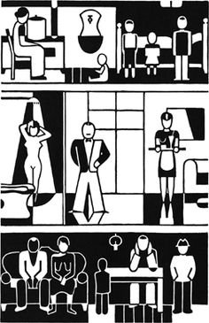"""From the Gerd Arntz web archive: """"During an artistic career spanning 50 years, the German artist Gerd Arntz (1900-1988) has continually criticized social inequality, exploitation and war in clear-cut prints – activism with artistic means."""" Private house.gif"""