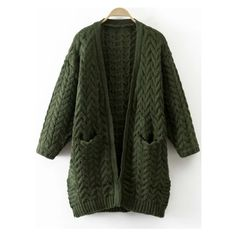 Army Green Cable Knit Side Slit Sweater Coat With Pocket (1.920 RUB) ❤ liked on Polyvore featuring outerwear, coats, green military coat, cable knit coat, pocket coat, olive coat and olive green coat