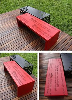 love this idea.. larger than life business card info.. park, sidewalk, bus stop.. and people can use it to sit on as well