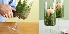 How to Make Evergreen Candle Holder - DIY & Crafts - Handimania Beautiful Christmas Decorations, Handmade Christmas Decorations, Christmas Candles, Christmas Crafts, Ideas Prácticas, Craft Ideas, Diy Candle Holders, Best Candles, All Things Christmas