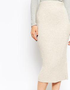 Image 3 ofASOS Pencil Skirt in Chunky Rib