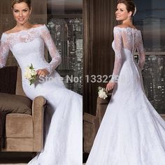 Find More Wedding Dresses Information about Vintage Style Elegant Scoop Long Sleeve Lace Mermaid White Sheer Neck Bridal Gowns Vestido De Novia Wedding Dresses 2014,High Quality Wedding Dresses from Suzhou Isabel Wedding & Evening Dress Co.,Ltd on Aliexpress.com