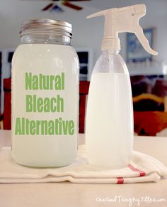 A Natural Bleach Alternative  Here's the recipe:  12 cups water  1/4 cup lemon juice  1 cup hydrogen peroxide    Mix. Add 2 cups per wash load or put in spray bottle and use as a household cleaner