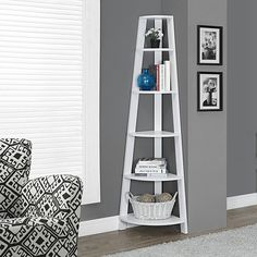 "Buy White 72""H Corner Accent Etagere by Michael Anthony Furniture on Dot & Bo"