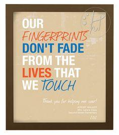 Fingerprint Teacher Gift - Printable Art Print - Thank your child's teacher with a personalized print. $12.00, via Etsy.