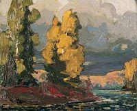 Poplars by a Lake