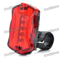 Bicycle Bike 7-Mode 5-LED Red Light Tail Warning Safety Light - Red   Black (2 x AAA) Price: $3.60