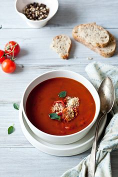 Roasted Tomato Soup & Tomato Parmesan Croutons from Helene at Tartelette.  Perfect styling.