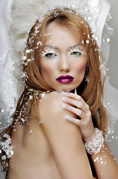 I like this idea for Halloween--Snow queen with this ice-like makeup.