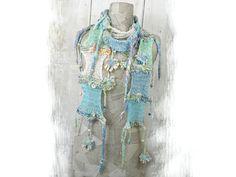 Art pastel knit scarf boho summer Bohemian clothing flowers