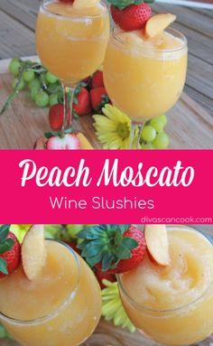 Peach Moscato, Peach Wine, Moscato Wine, Moscato Punch, Peach Margarita, Alcohol Drink Recipes, Punch Recipes, Slushy Alcohol Drinks, Blended Alcoholic Drinks