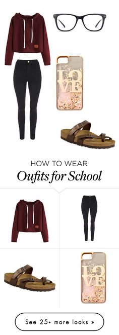 """School"" by kennedy13-05 on Polyvore featuring Jane Norman, Birkenstock, GlassesUSA and claire's"