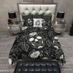 Black and Cream Sugar Skull Rose Duvet Bedding Sets Cream Bedding, Duvet Bedding Sets, Black Bedding, Linen Bedding, Blue Bedroom, Bedroom Bed, Skull Bedroom, Bedroom Ideas, Gothic Bedroom