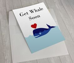 """""""Get Whale Soon""""  This funny get well soon card is sure to bring a smile to anyone's face and send them on their way to a quick recovery! Get Whale Soon, Get Well Soon Card, Get Well Soon Gift , Funny Get Well Card, Get Well Soon Package, Hospital Gift, Cancer Card"""