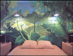 Robert Walker | a jungle mural that I can love! brilliant handling of light. venture to www.herrsuite.com // mural, handpainted, wall, home decor, wilderness at home, bedroom