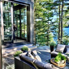 my future house Ready For Our Close Up Outdoor Spaces, Outdoor Living, Lakeside Living, Outdoor Seating, Indoor Outdoor, Haus Am See, House Goals, Style At Home, My Dream Home
