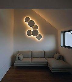 Puck Wall Art wall lamp designed by Jordi Vilardell… Interior Lighting, Home Lighting, Wall Lighting, Contemporary Wall Lights, Wall Fixtures, Wall Art Designs, Ceiling Design, Home Interior Design, Interior Designing