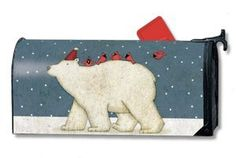 Polar Pals Magnetic Mailbox Cover by Magnetworks. New Mailbox, Mailbox Ideas, Security Mailbox, Magnetic Mailbox Covers, Woodland Wedding, Winter Landscape, Christmas And New Year, Adhesive Vinyl, Mail Sign