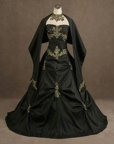 Black gothic wedding dress This is interesting and caught my eye.. Gothic black wedding dress. Would never consider wearing it of course but I love the look of this picture,And suddenly we are talking about a black wedding dress