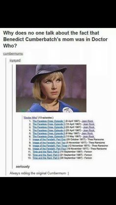 The Cumbermum! Each occurrence was 10years apart too. That's some good Time Lord shit.