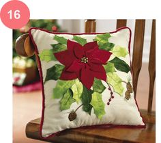 Poinsettia Bouquet Holiday Throw Pillow from Collections Etc. Christmas Makes, Green Christmas, Felt Christmas, All Things Christmas, Christmas Ornaments, Christmas Cushions, Christmas Pillow, Poinsettia, Christmas Projects