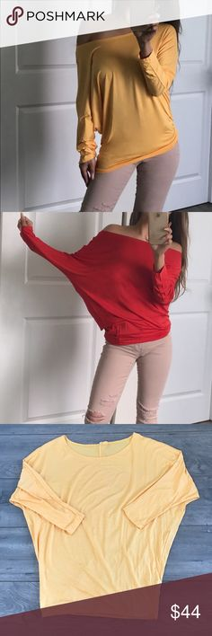 """🆕 """"ELYSE"""" Dolman Mango Tango Top 🎉Fun and sexy! These tips are always a convient touch to sexy your denim up💋 95% rayon 5% spandex. Love this """"Mango tango"""" color with my """"SKIN"""" ripped blush nude ankle jeans👌✨ *Medium measures 29"""" chest/ 28.5"""" length. I'm modeling small. boutique Tops Tunics"""
