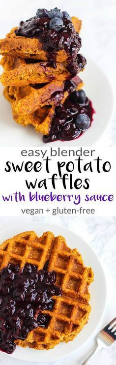 Blender Sweet Potato Waffles with Blueberry Sauce (vegan + gluten-free)